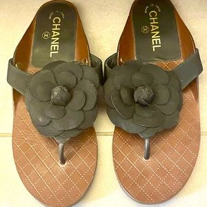 Chanel Leather & Grosgrain Camellia Thong Sandals